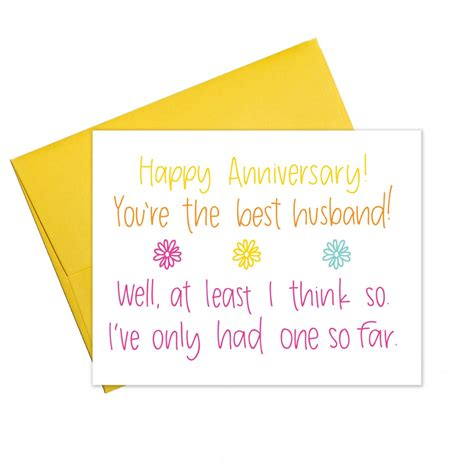 Whether you want to take the romantic route or go for something funny, find a card they'll love forever right here. You're the Best Husband - Anniversary Card | Colette Paperie - snarky & funny greeting cards ...