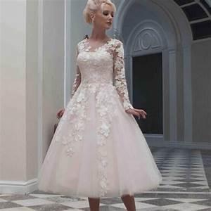 195039s style wedding dresses tea length high cut wedding With plus size 50s wedding dress