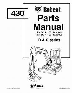 Bobcat 430 D  U0026 G Series Excavator Parts Manual Pdf