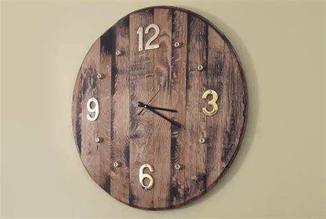 diy wooden wall clock wine barrel projects woodwork junkie