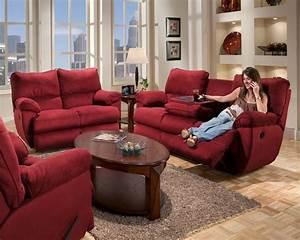 Legend Merlot Fabric Reclining Sofa By Catnapper