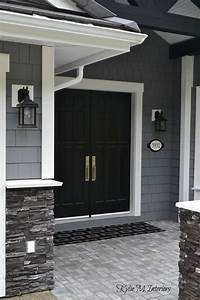 Exterior, Of, Home, With, Chelsea, Gray, Painted, Shakes, Black, Painted, Double, Front, Door, And, White