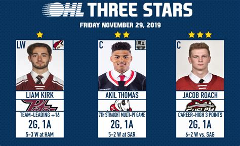 Akil Thomas named OHL Second Star – November 29th, 2019 ...