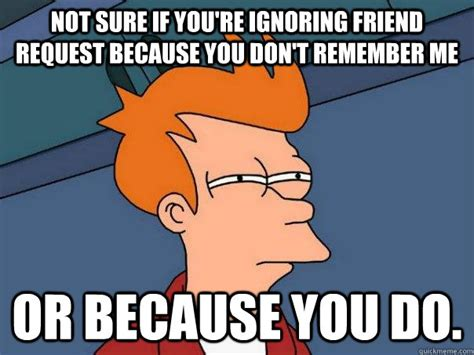 Friend Request Meme - not sure if you re ignoring friend request because you don t remember me or because you do
