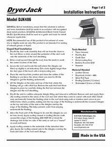 Dryer Jack  Model Djk486  Installation Instructions