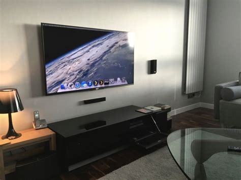 Mac Mini Living Room Pc by Wall Mounted Tv With Mac Mini Media Center Techy Jale