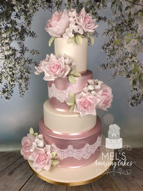 tier pink shimmer wedding cake mels amazing cakes