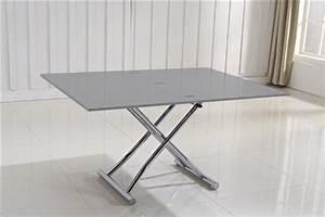 Petite Table Extensible : table basse relevable extensible high and low gris laque brillant petite taille compacte ~ Teatrodelosmanantiales.com Idées de Décoration