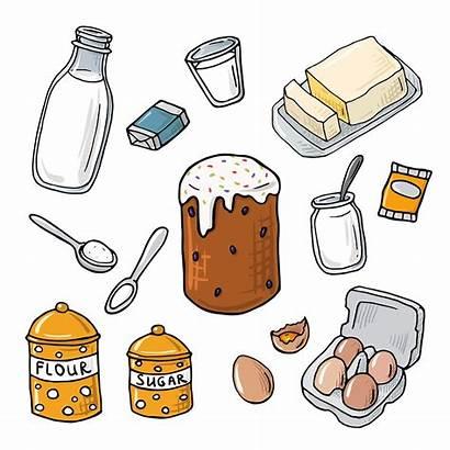 Cartoon Baking Cake Flour Yeast Ingredient Milk