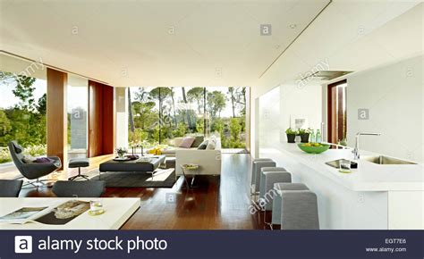 contemporary open plan kitchen living room grey furniture in open plan living room and kitchen of 9455