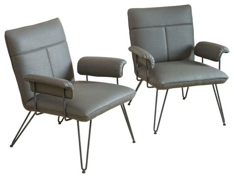 bonsallo modern vinyl arm chair set of 2 grey