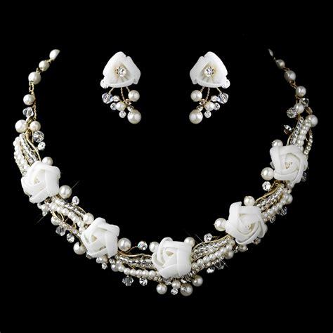 pearl rhinestone swarovski flower jewelry sets