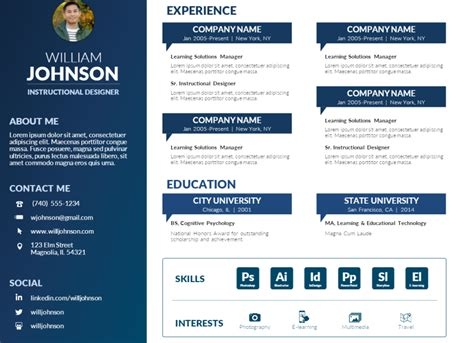 Creating A Cv For Free by Free Powerpoint Visual Resume Template Mike