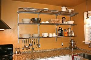 Designs, Ideas, Good, Stainless, Steel, Wall, Mounted, Kitchen, Shelves
