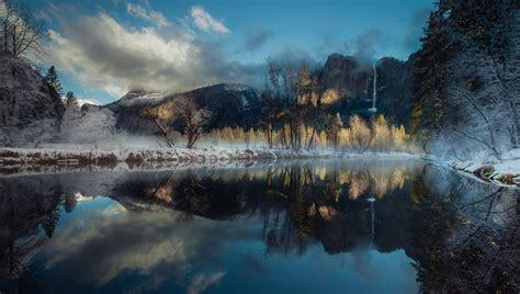 Landscape Nature Winter River Reflection Waterfall