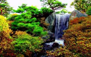 Flower Garden with Waterfall