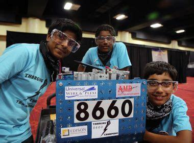 girls team inspires  robotics competition
