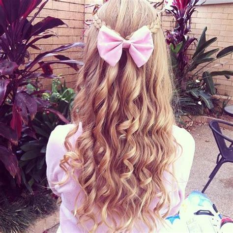 Curly Hair With A Pink Bow Hair Pinterest My Hair