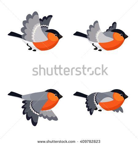 Abstract animated gold particle rain background. Vector illustration of cartoon flying bullfinch animation ...
