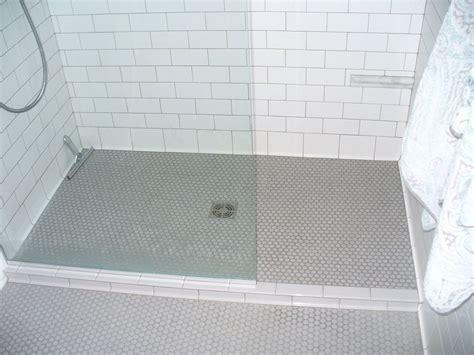 penny tile bathroom floor bathroom contemporary  glass