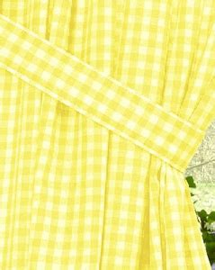 yellow gingham check window curtains
