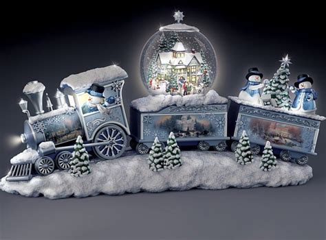 snowfall express light  musical snowman snowglobe train
