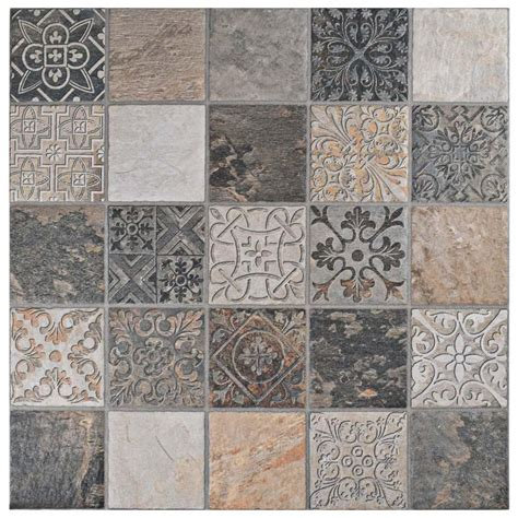 merola tile deco calzada ardesia 17 1 2 in x 17 1 2 in