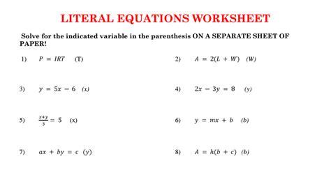 worksheets literal equations worksheets opossumsoft