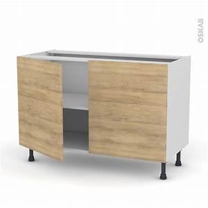 meuble de cuisine bas hosta chene naturel 2 portes l120 x With meuble bas de cuisine 120 cm 11 cuisine marais