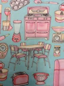 pink retro kitchen collection retro pink kitchen appliances kitschy vintage on aqua background cotton quilting fabric cr243