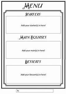 Menu Writing Frames by gill2307 - Teaching Resources - Tes