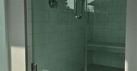 master shower  white subway tile   carrara