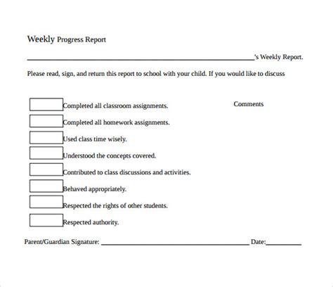 sample weekly progress reports   ms word