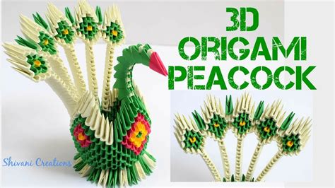 3D Origami Peacock/ How to make 5 Feather 3D Origami Peacock - YouTube