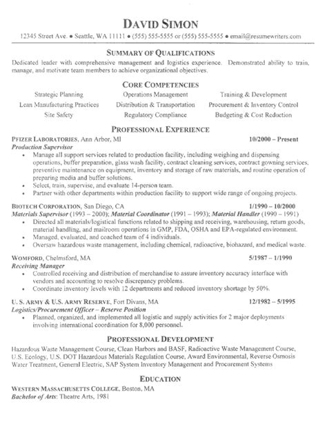 Manufacturing Resume by Manufacturing Resume Exle Manufacturing Resume Writing