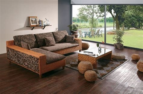 High End Leather Sofa by Hand Woven Wicker Sectional Sofa With Brown Microfiber