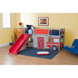 boys fire department twin loft bed with slide red