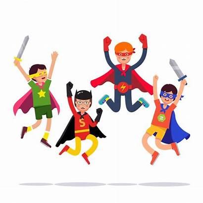 Superhero Team Young Cosplay Boys Vector Super