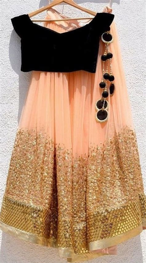 Peach Net and Velvet Crop Top Choli Lehenga for Party WJ81825