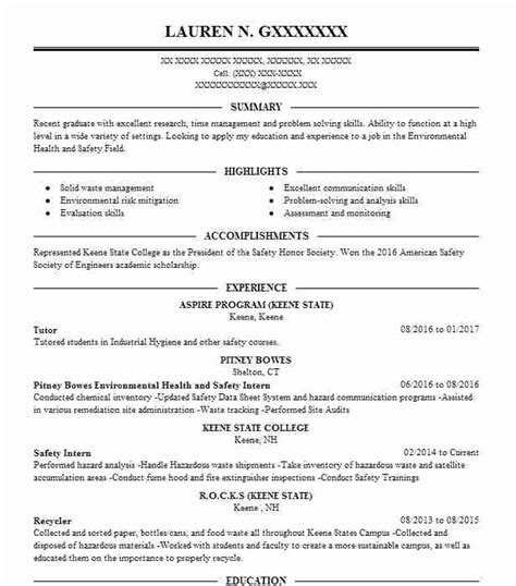 College Tutor Resume by Occupational Health And Safety Specialist Resume Sle