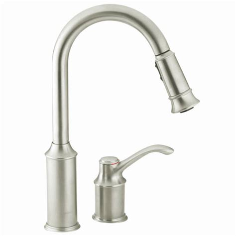 moen csl aberdeen single handle pullout kitchen faucet classic stainless faucetdepotcom