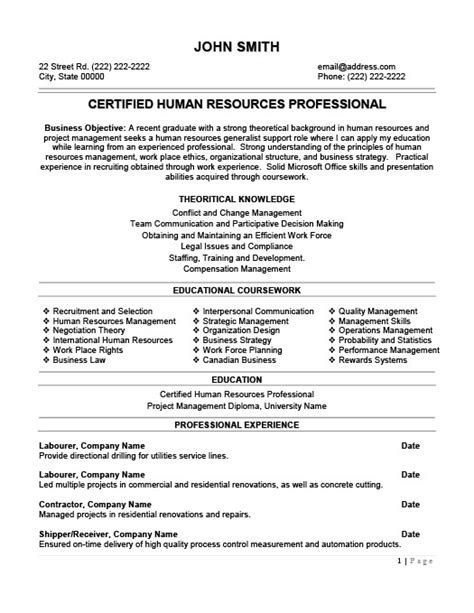 hr professional resume objective human resources professional resume template premium resume sles exle