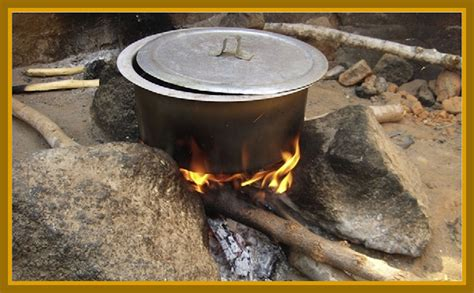 wood cook bangladeshi food is cooked an open