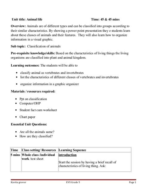 lesson plan on classification of animals 122 | lesson plan on classification of animals 1 638