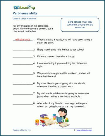 grade  verbs worksheets  learning helping verbs