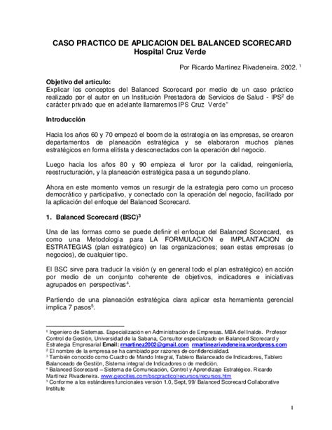 caso practico de aplicacion balanced scorecard hospital verde ricardo martinez