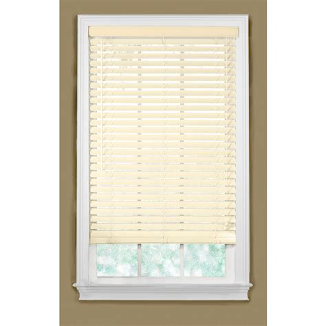 faux wood blinds lowes shop style selections 27 5 in w x 48 in l alabaster faux