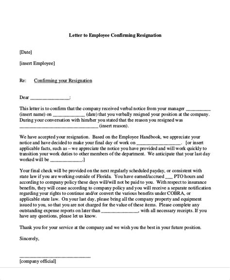 resignation acceptance letter  word
