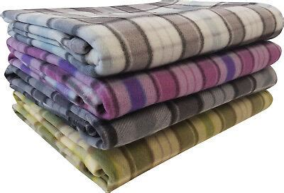 tartan fleece blanket sofa throw bed throwover cover extra