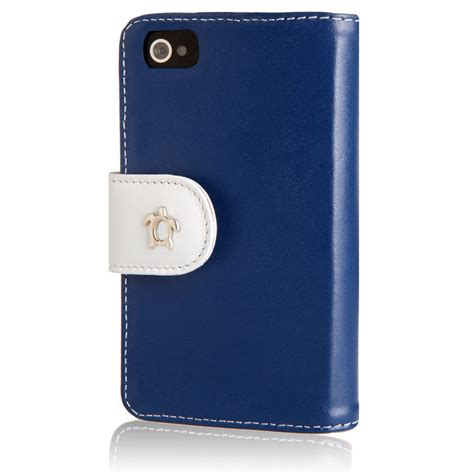 etui housse cuir iphone 4 s bleu blanc fourreau portefeuille iphone 4